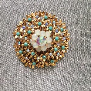 Anthropologie gold gemstone brooch NEW
